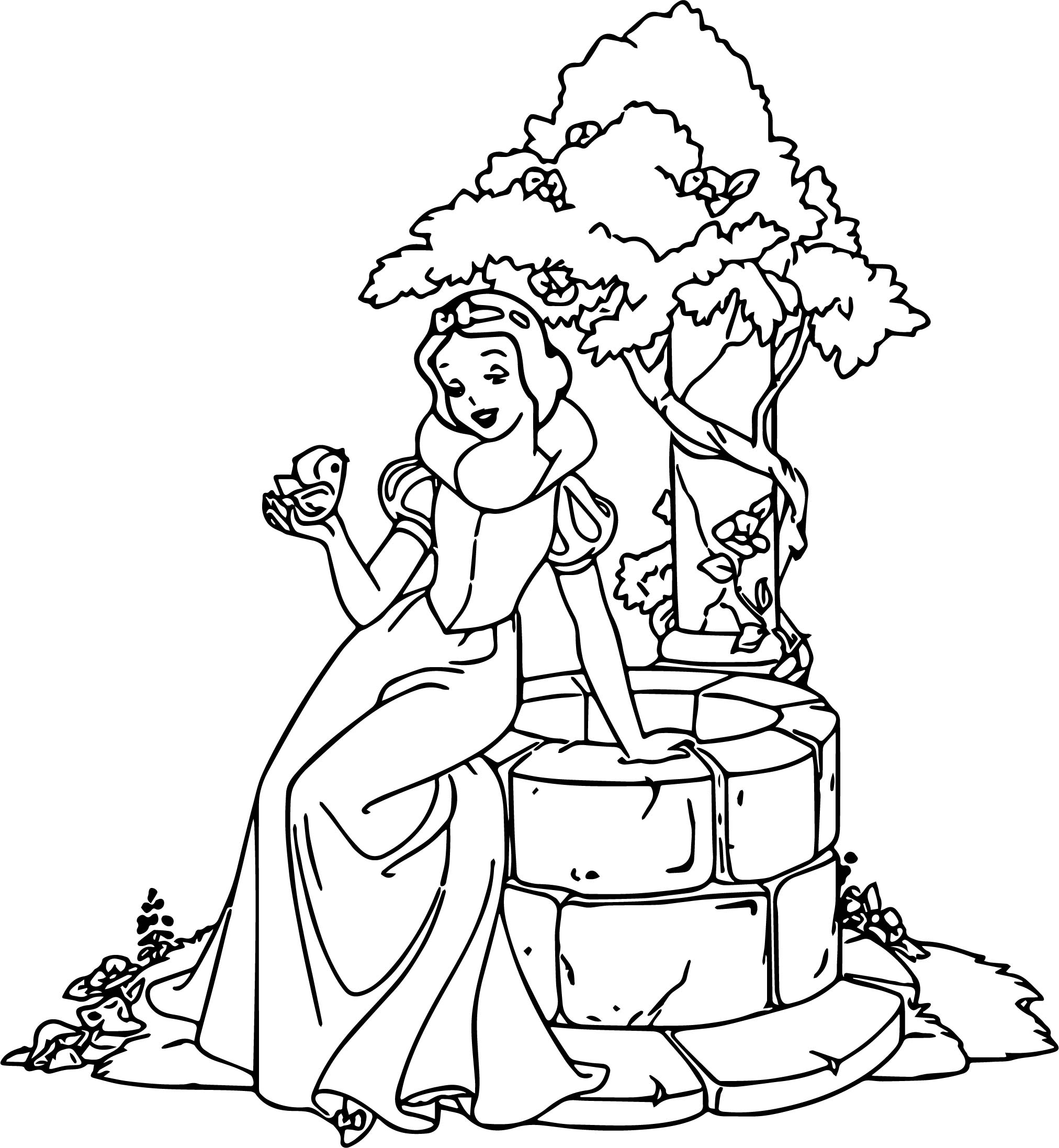 Snow White Well Coloring Page