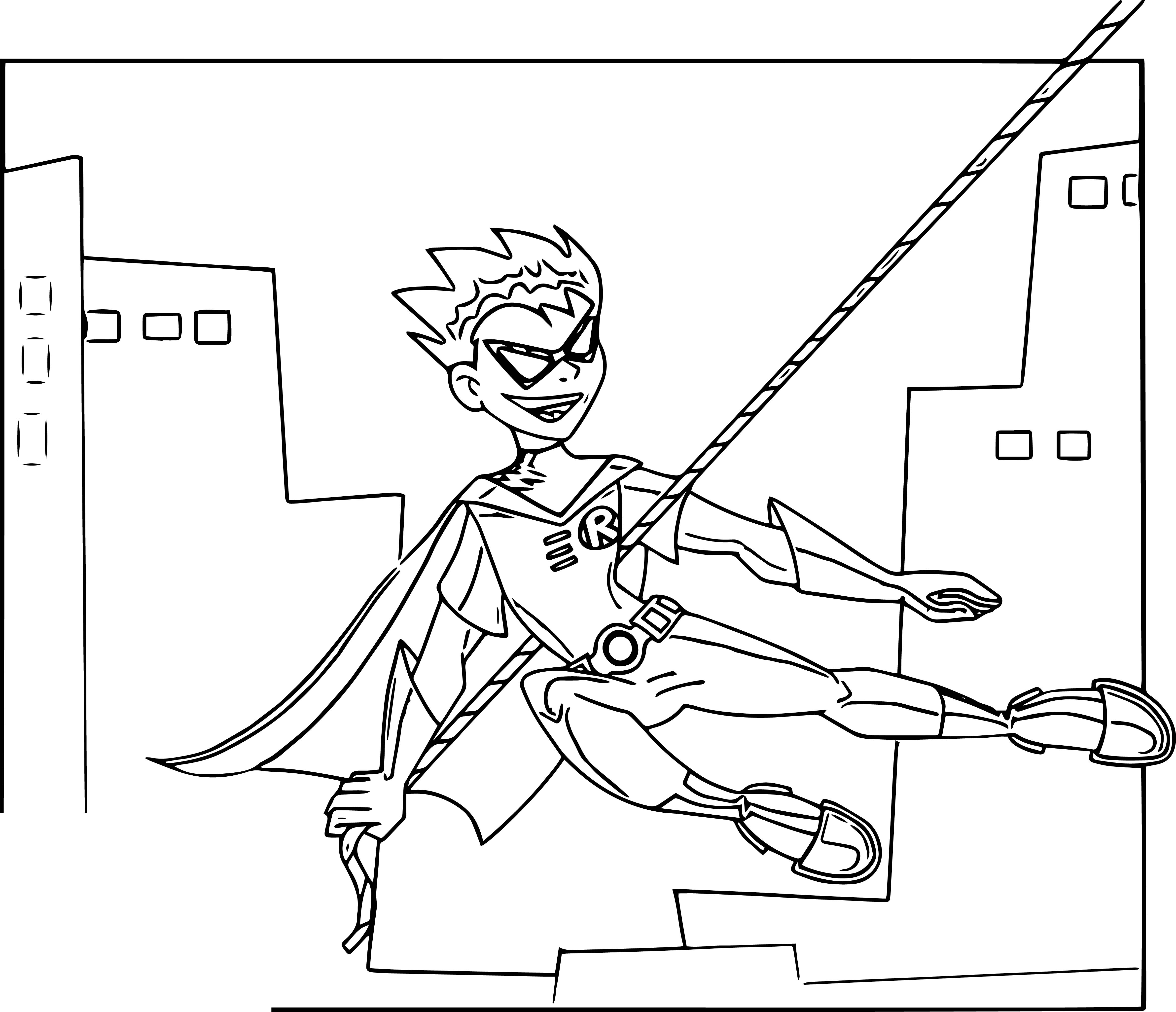 Spider Man Teen Titans Go Robin Coloring Page