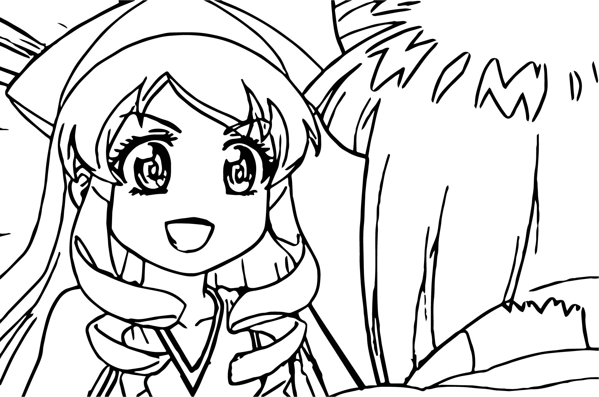 Squid Girl Talk Him Coloring Page