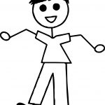 Stick Boy Standing Coloring Page