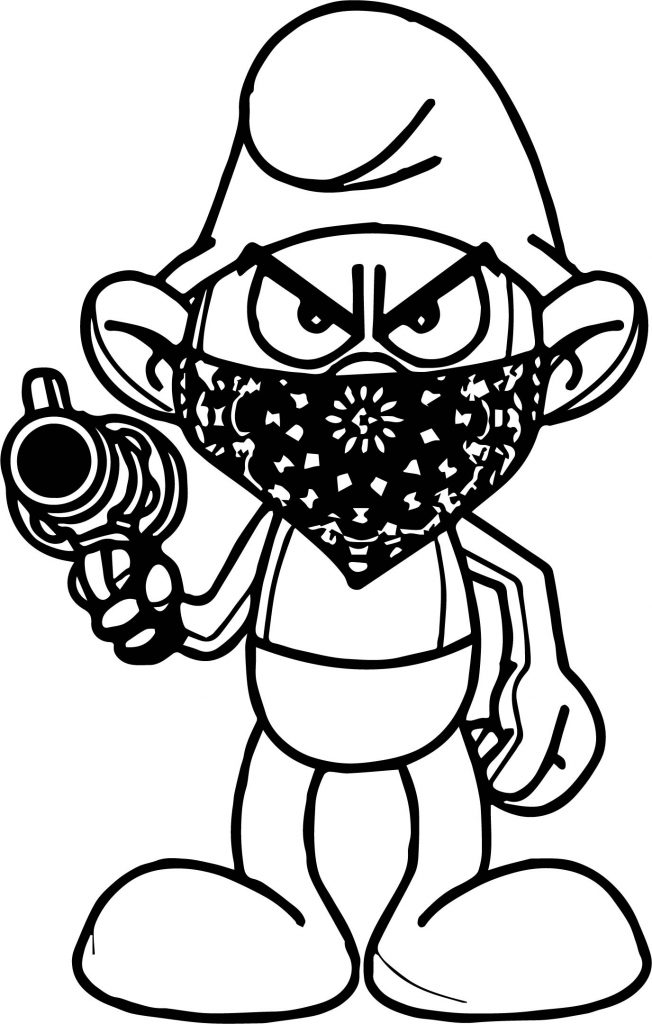 temp image gangsta smurf coloring page wecoloringpagecom