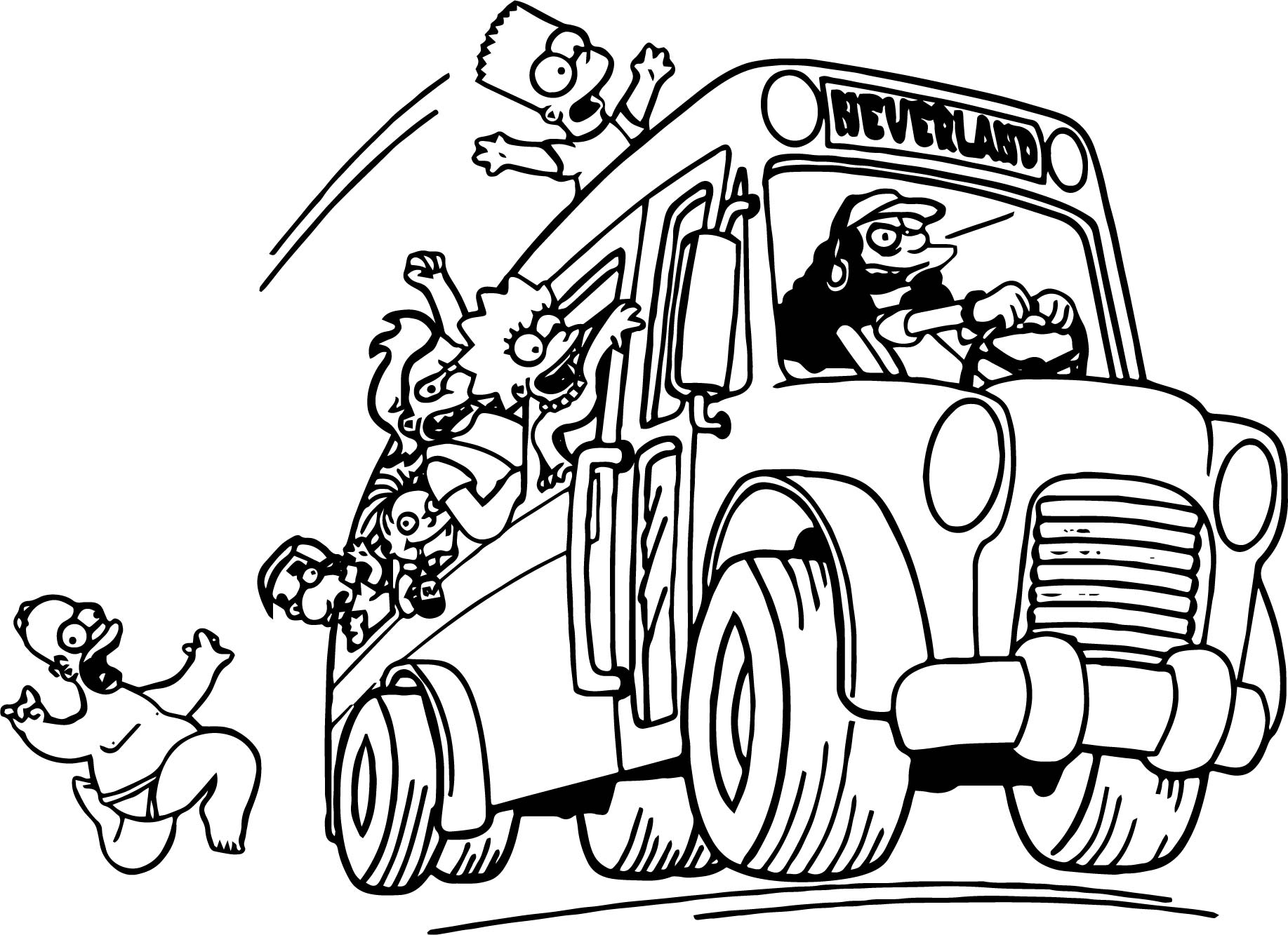 The Simpsons Catch Car Coloring Page | Wecoloringpage