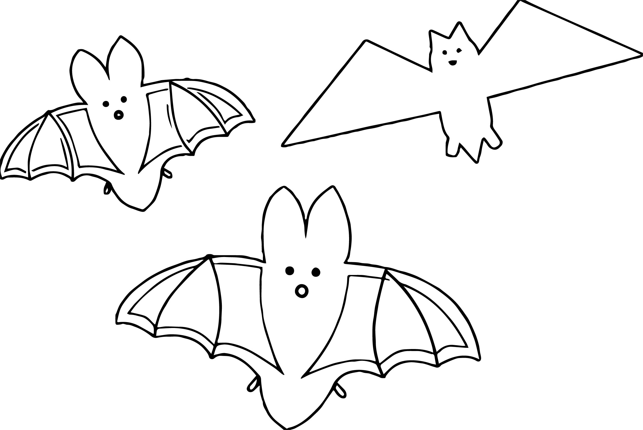 Three Bat Coloring Page