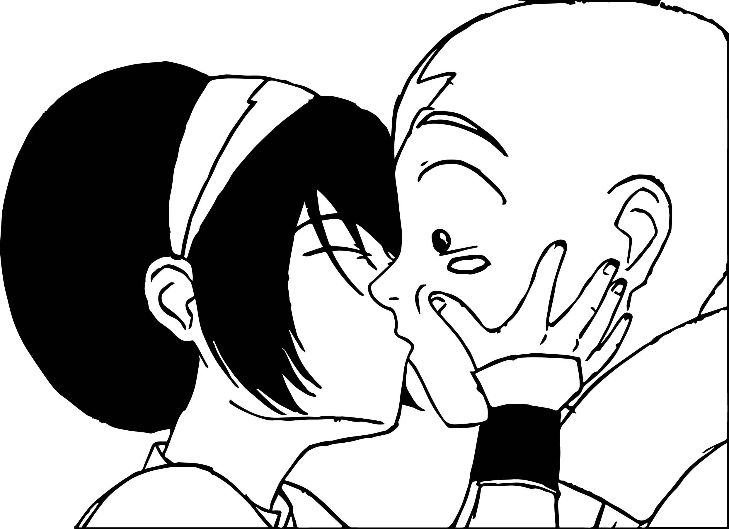 Toph Kiss Aang Color Sangoten Style Avatar Aang Coloring Page