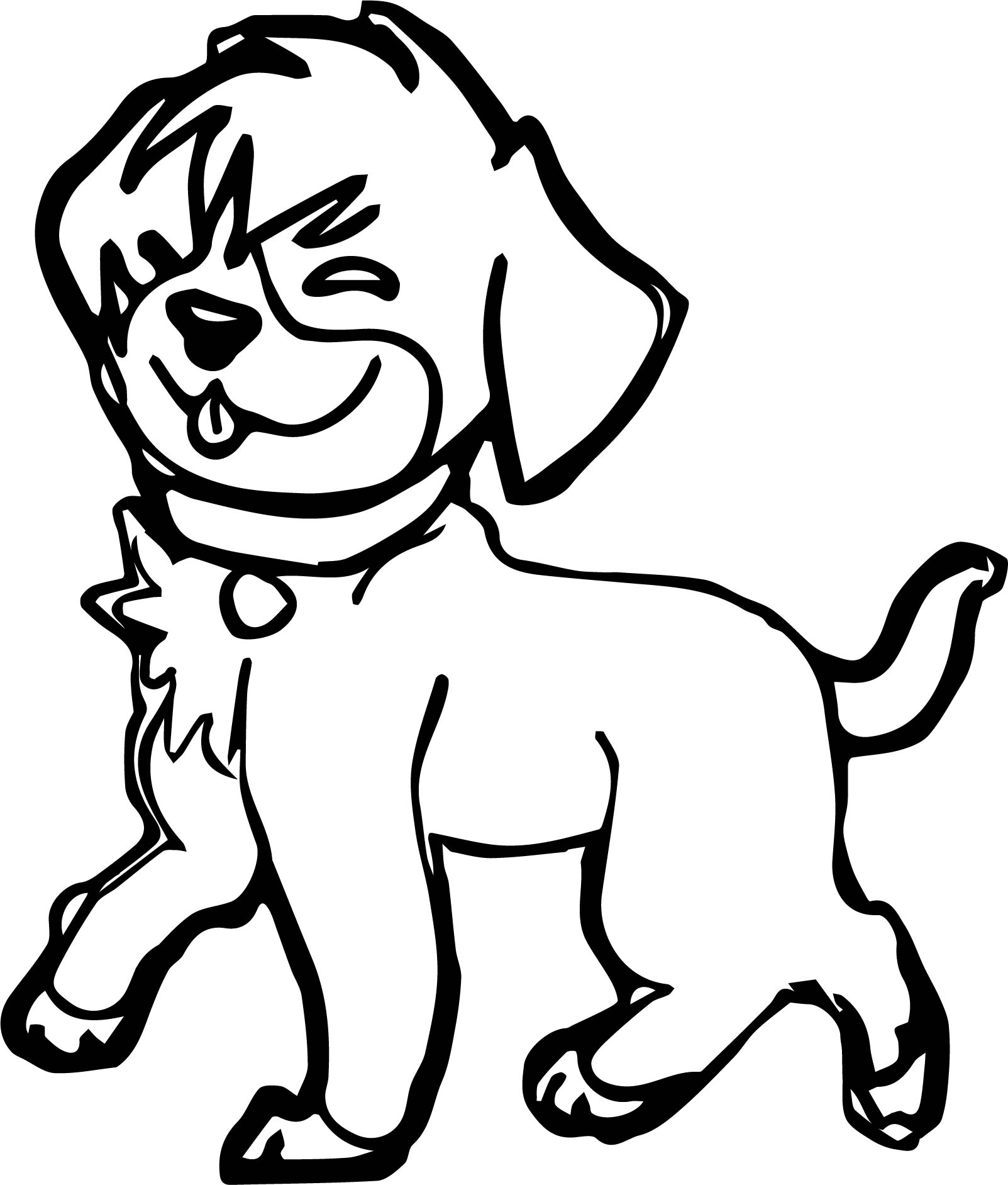Walking Funny Puppy Dog Puppy Coloring Page
