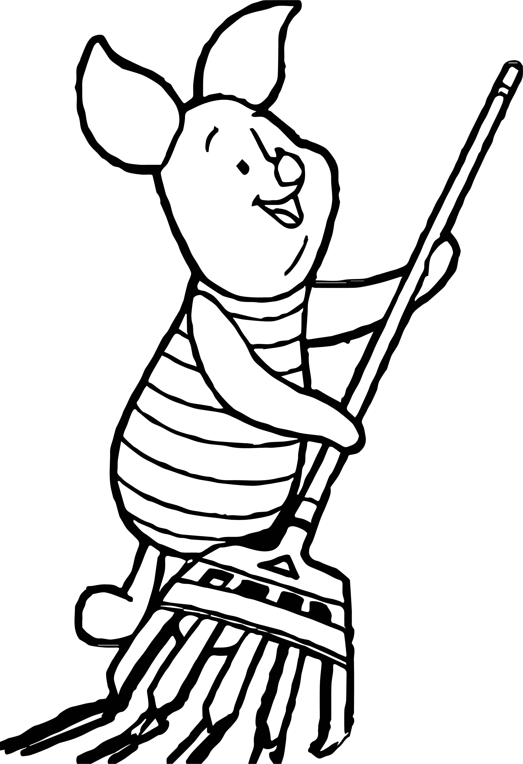 Walt Disney Cute Piglet Characters Coloring Page