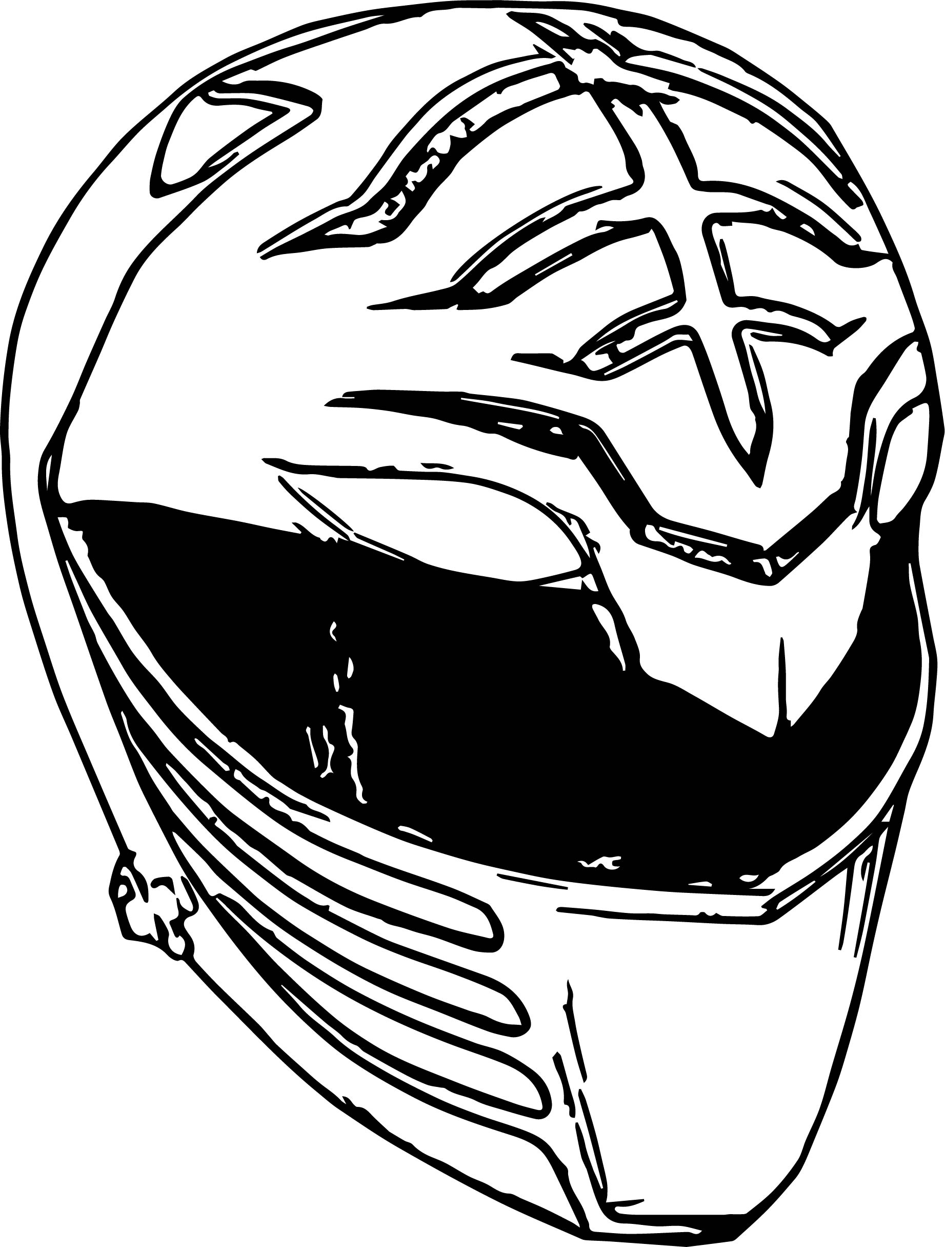 White Power Rangers Head Coloring Page