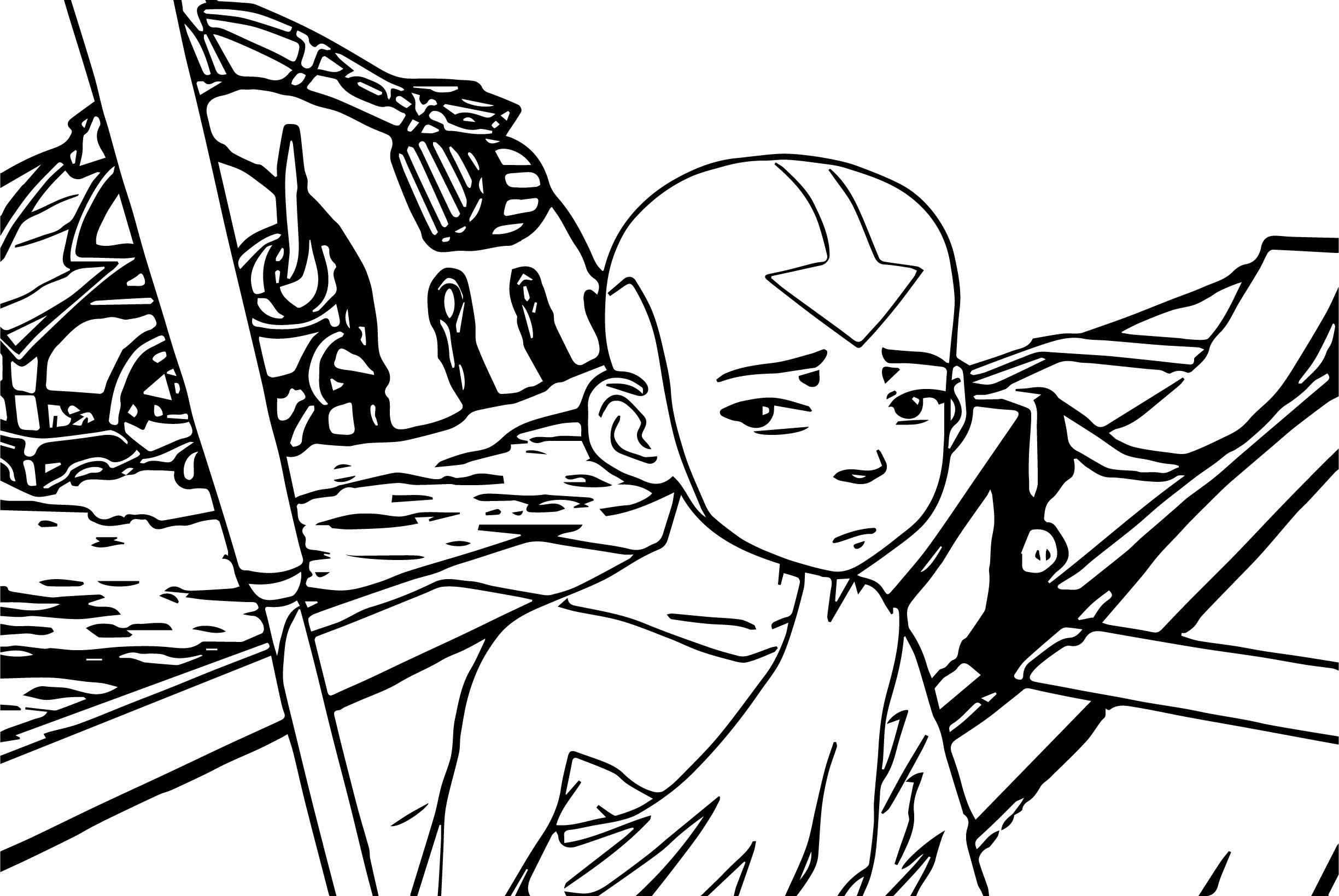 Aang Avatar Sad Aang Coloring Page