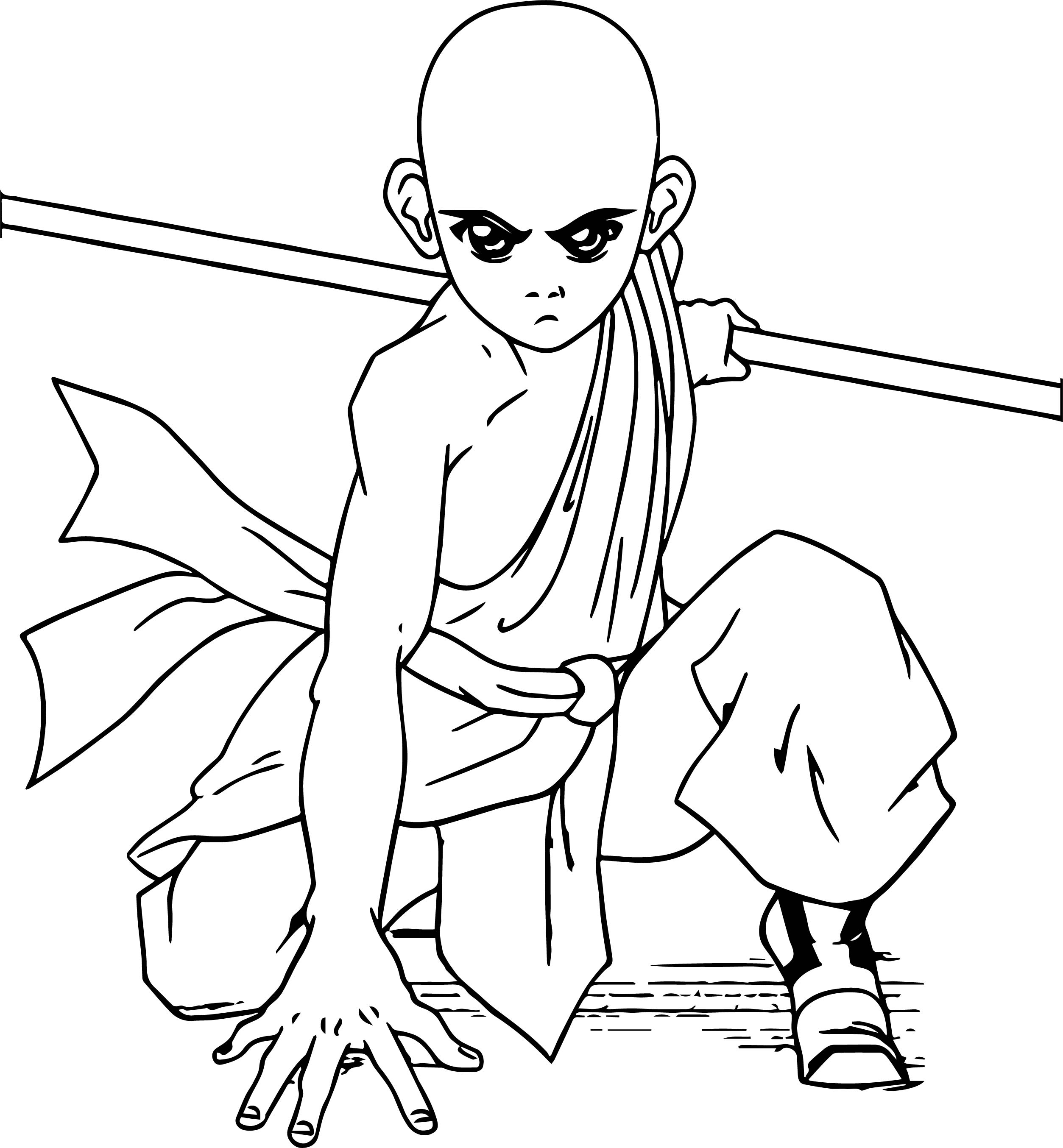 Aang In Action Viress Avatar Aang Coloring Page
