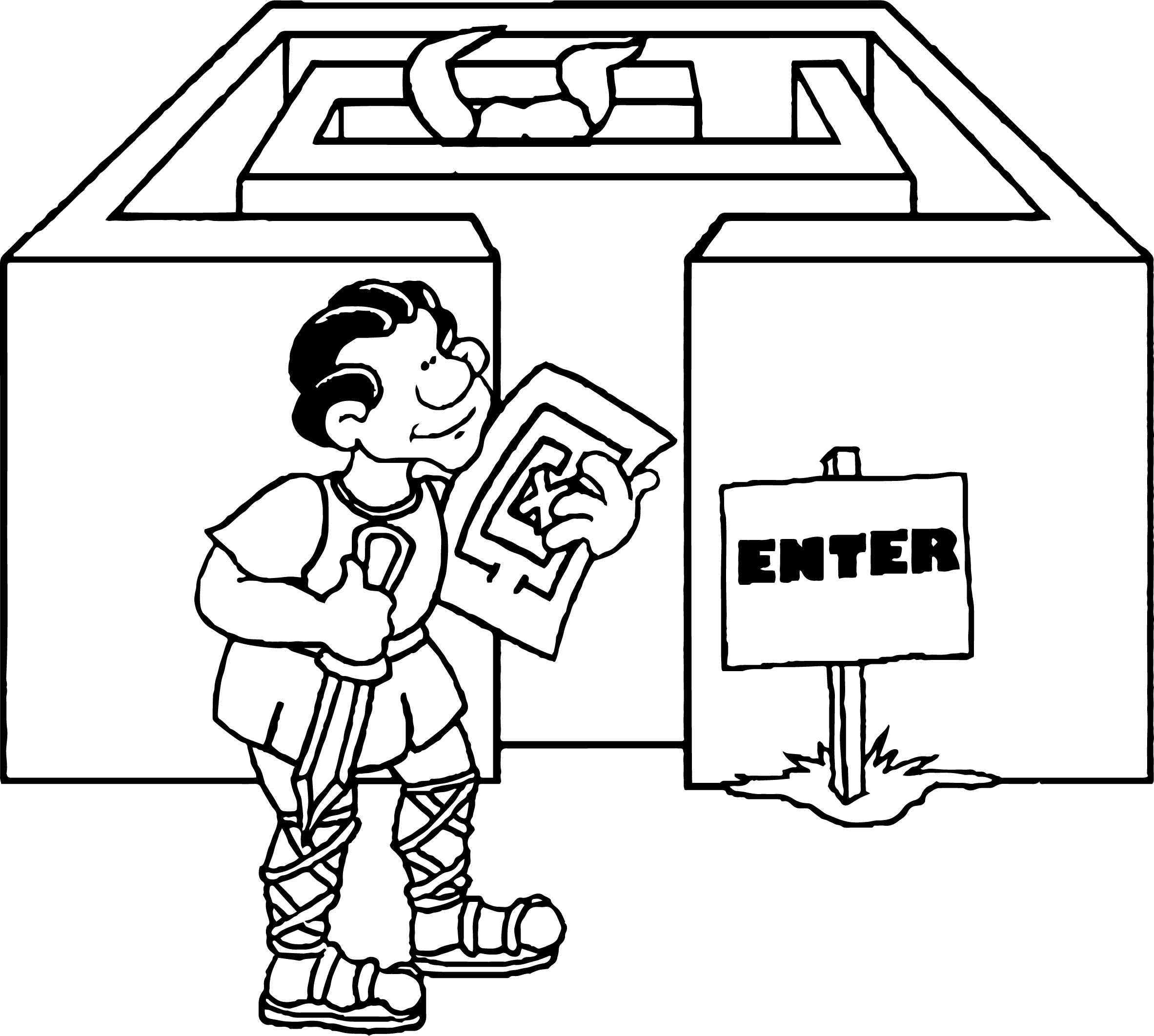 Ancient Greece Labyrinth Coloring Page