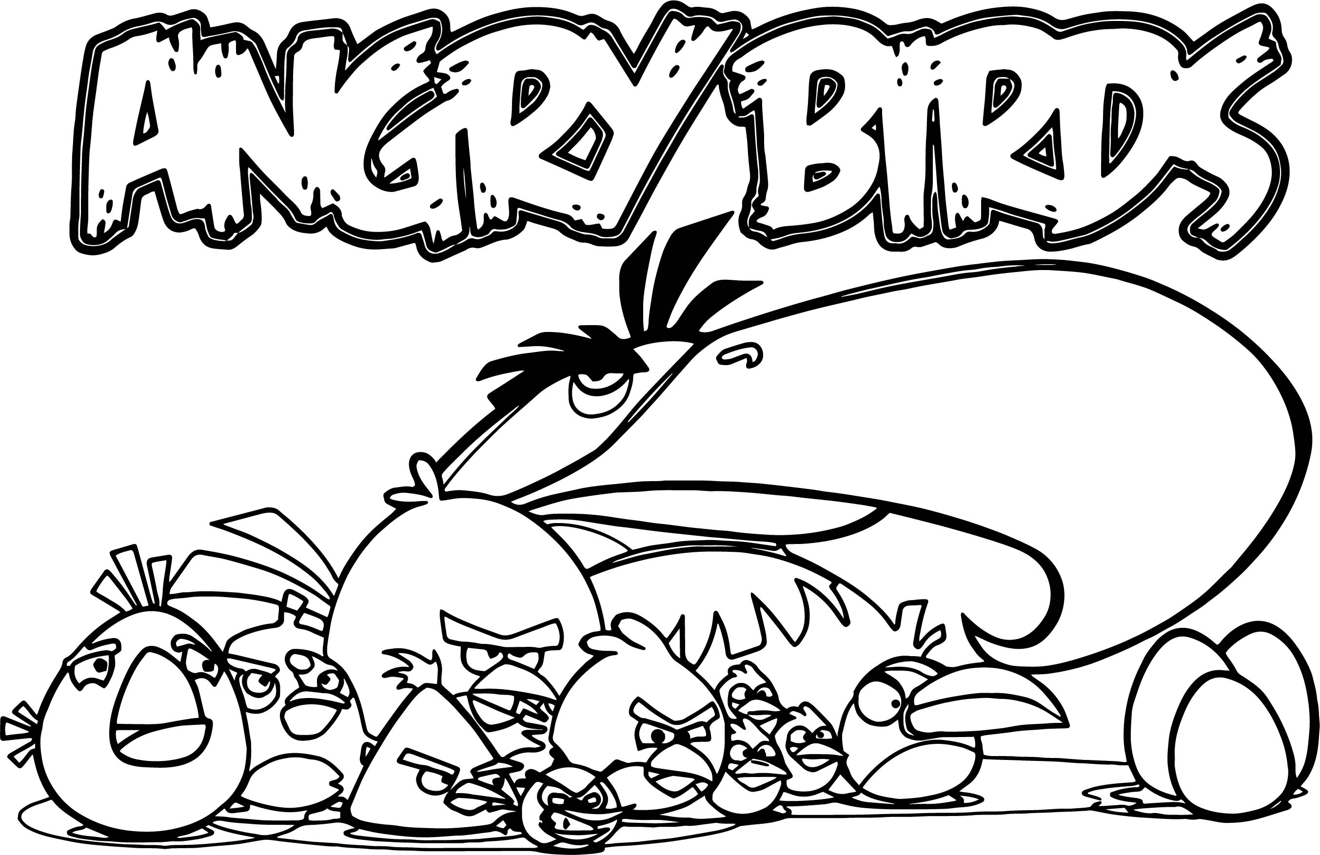 Angry birds group coloring page for Angry birds rio coloring pages