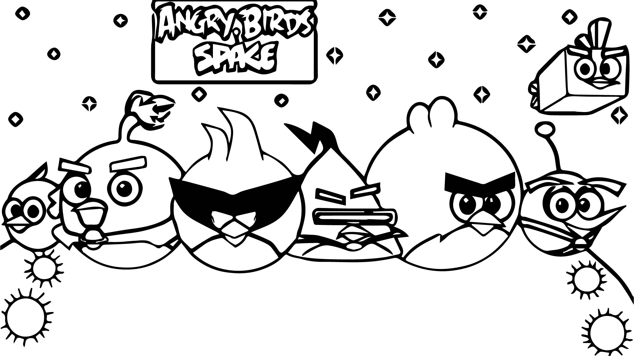 Colorful Angry Birds Space Coloring Pages Ice Bird