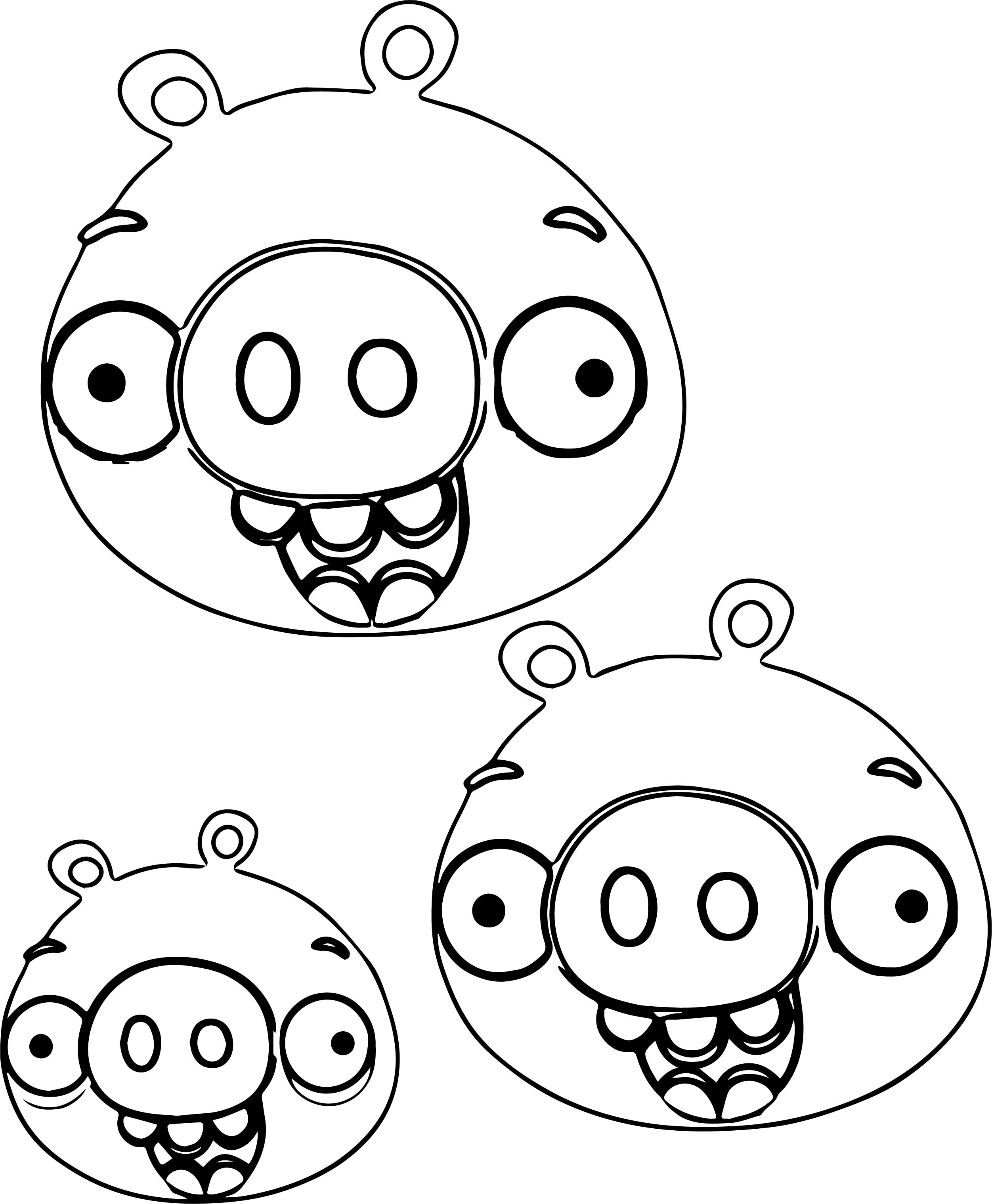 Angry Birds Three Pig Heads Coloring Page