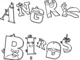 Angry Birds Typography Text Coloring Page
