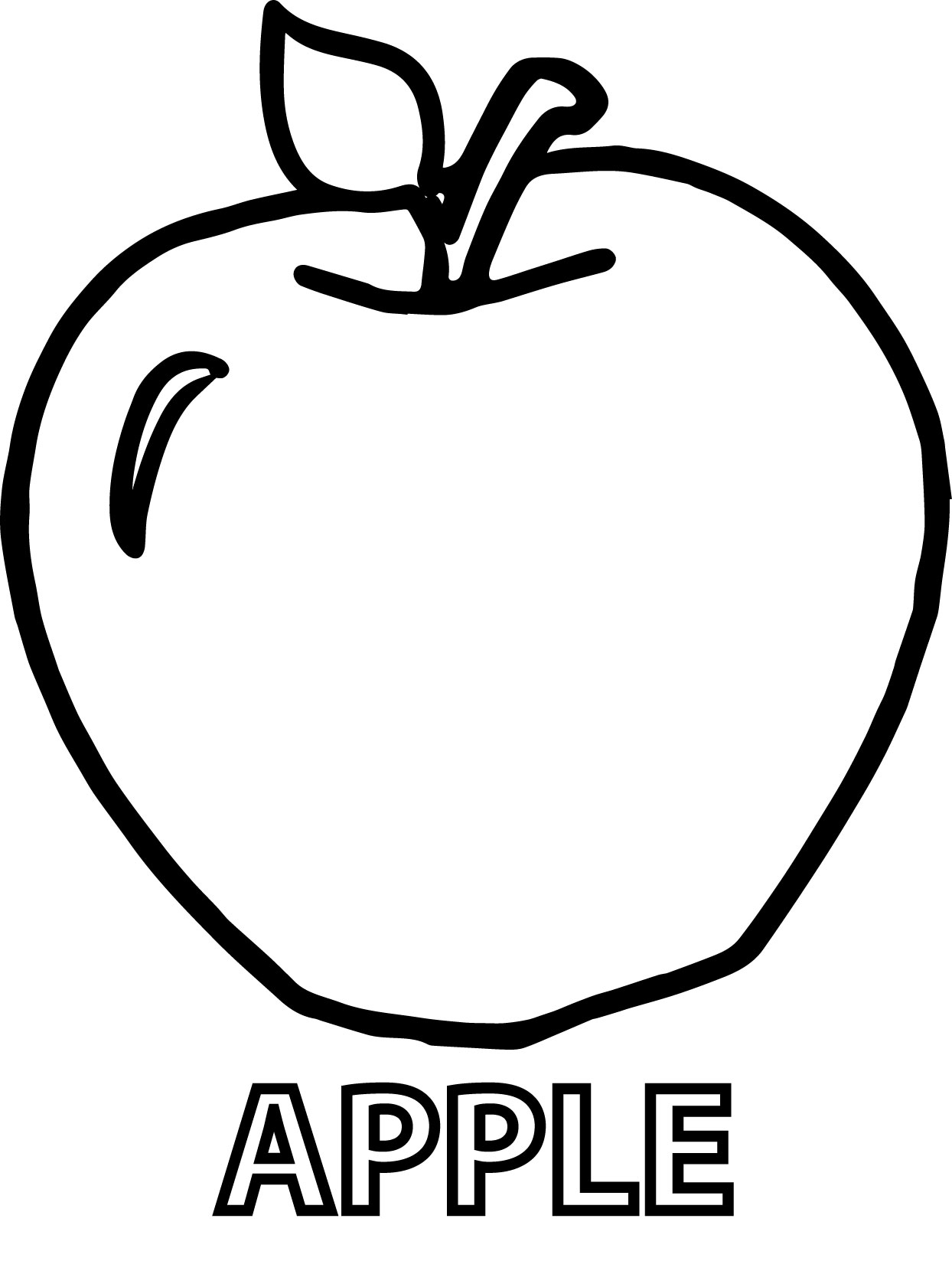 Apple Text And Apple Coloring Pages