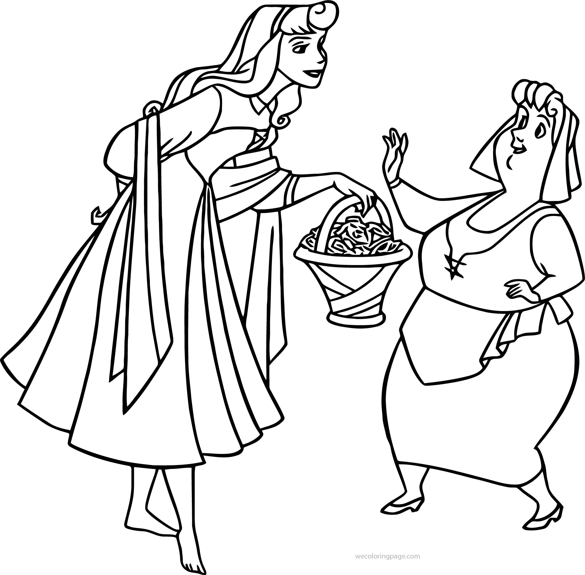 Aurora Flora Fauna and Merryweather Princess Coloring Pages