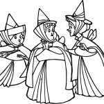 Aurora Flora Fauna and Merryweather Together Coloring Pages