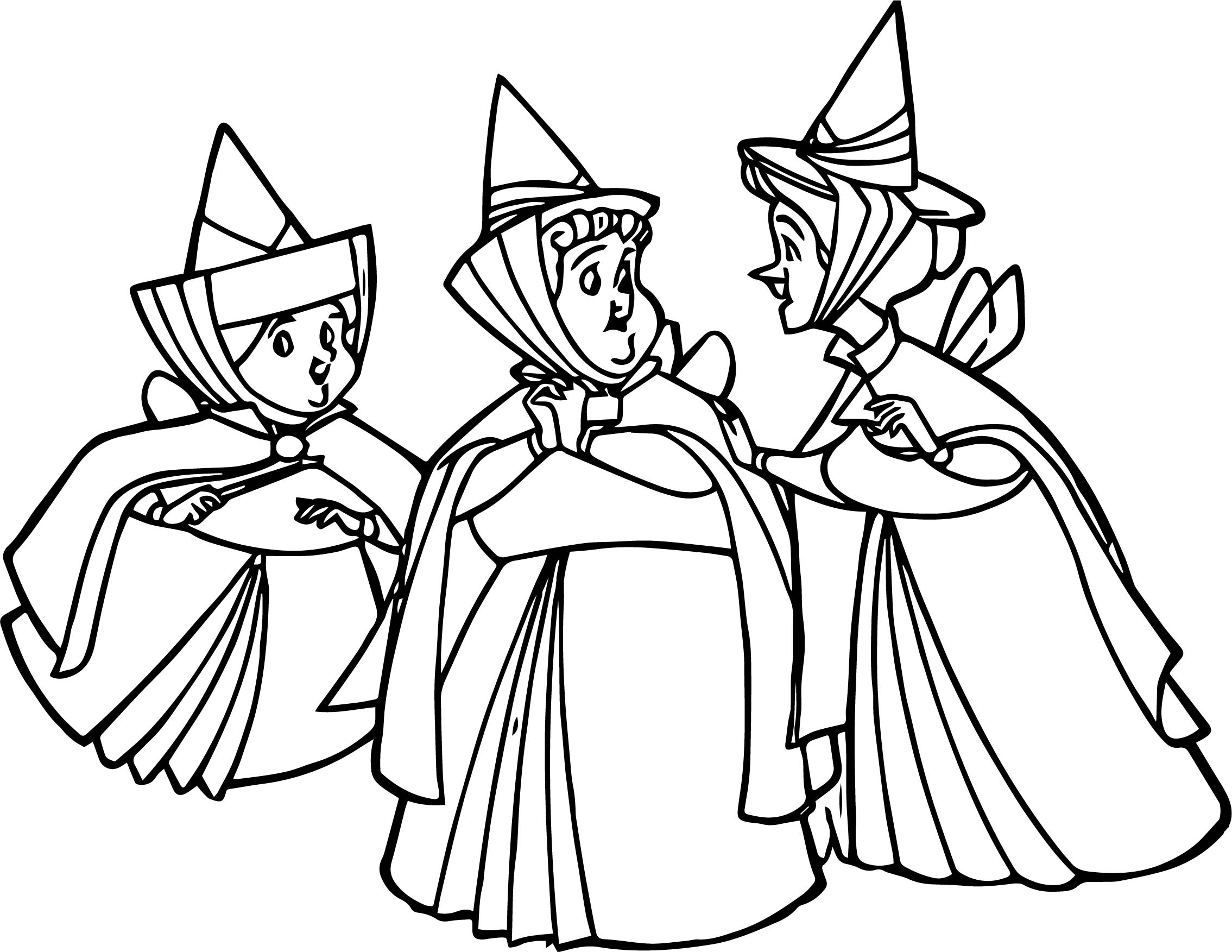 Aurora Flora Fauna And Merryweather Together Coloring Pages ...