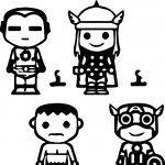Avengers Chibi Kids Coloring Page