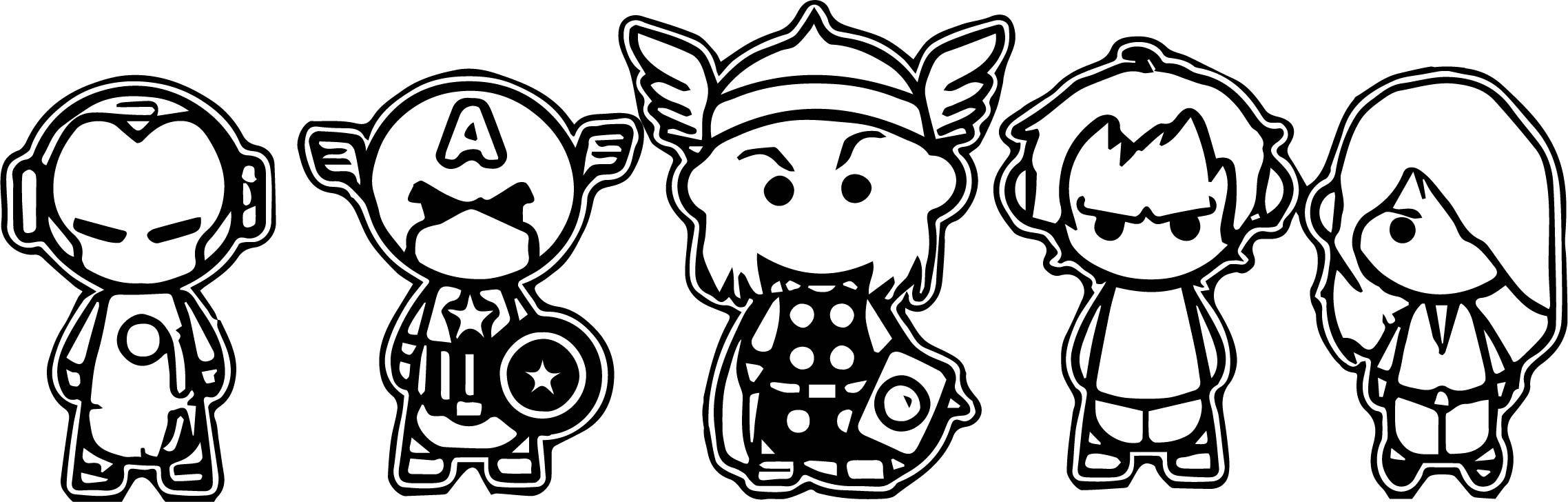 Avengers Chibi Side Coloring Page