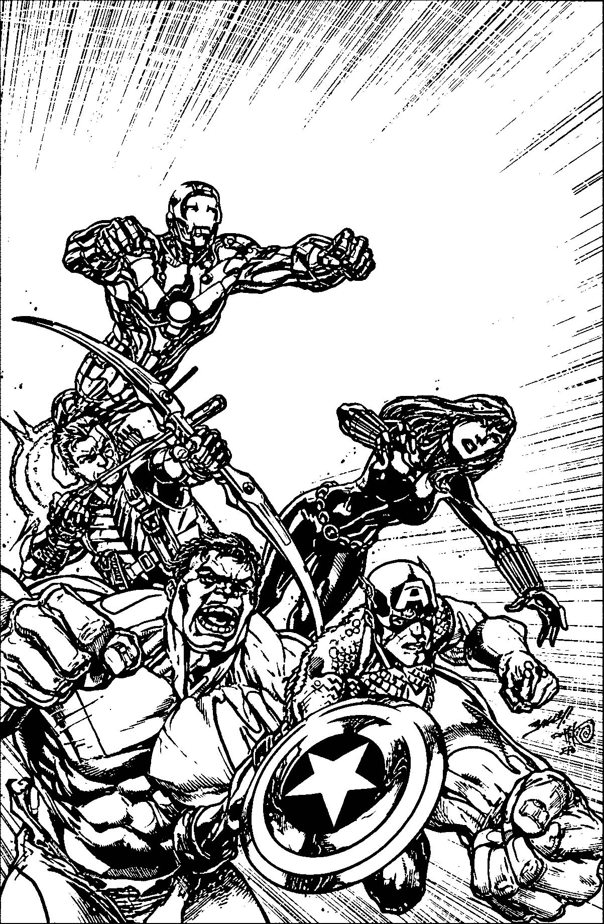 Avengers Sheet Sketch Coloring Page