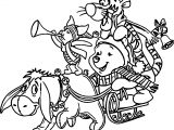 Baby Piglet And Friends Chrismas Music Coloring Page
