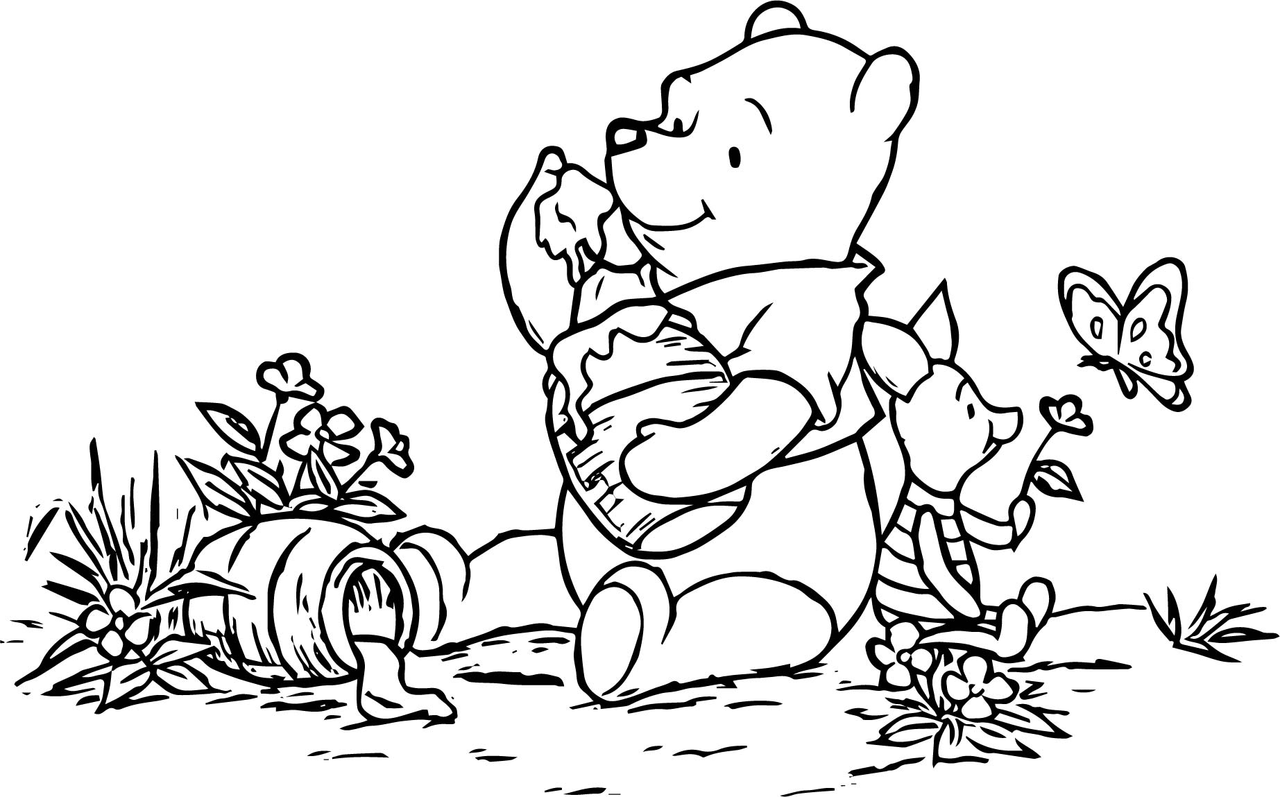 Baby Piglet Winnie The Pooh Butterfly Coloring Page