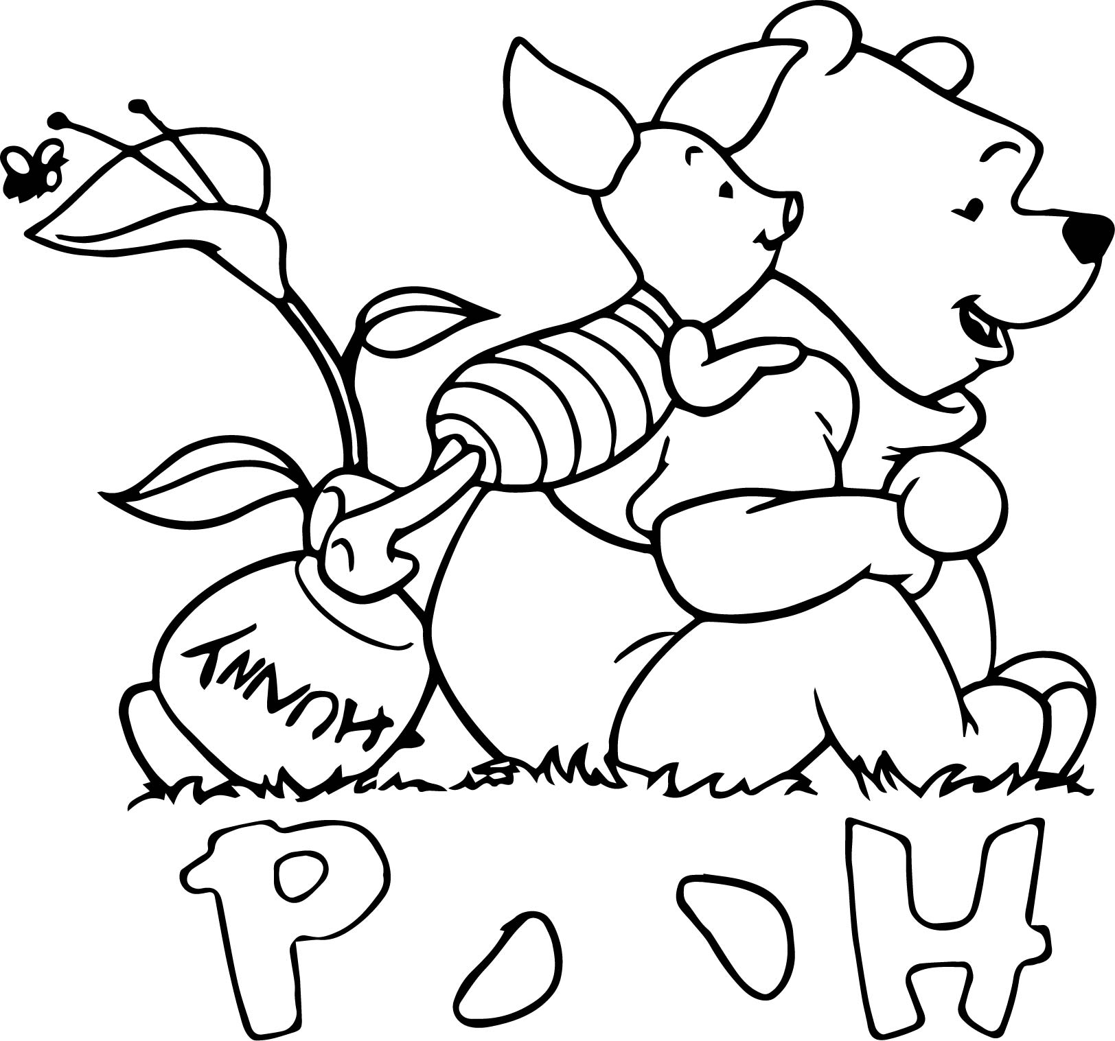 Baby piglet winnie the pooh looking coloring page for Pooh and piglet coloring pages