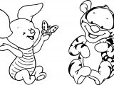 Baby Tigger Piglet Butterfly Coloring Page