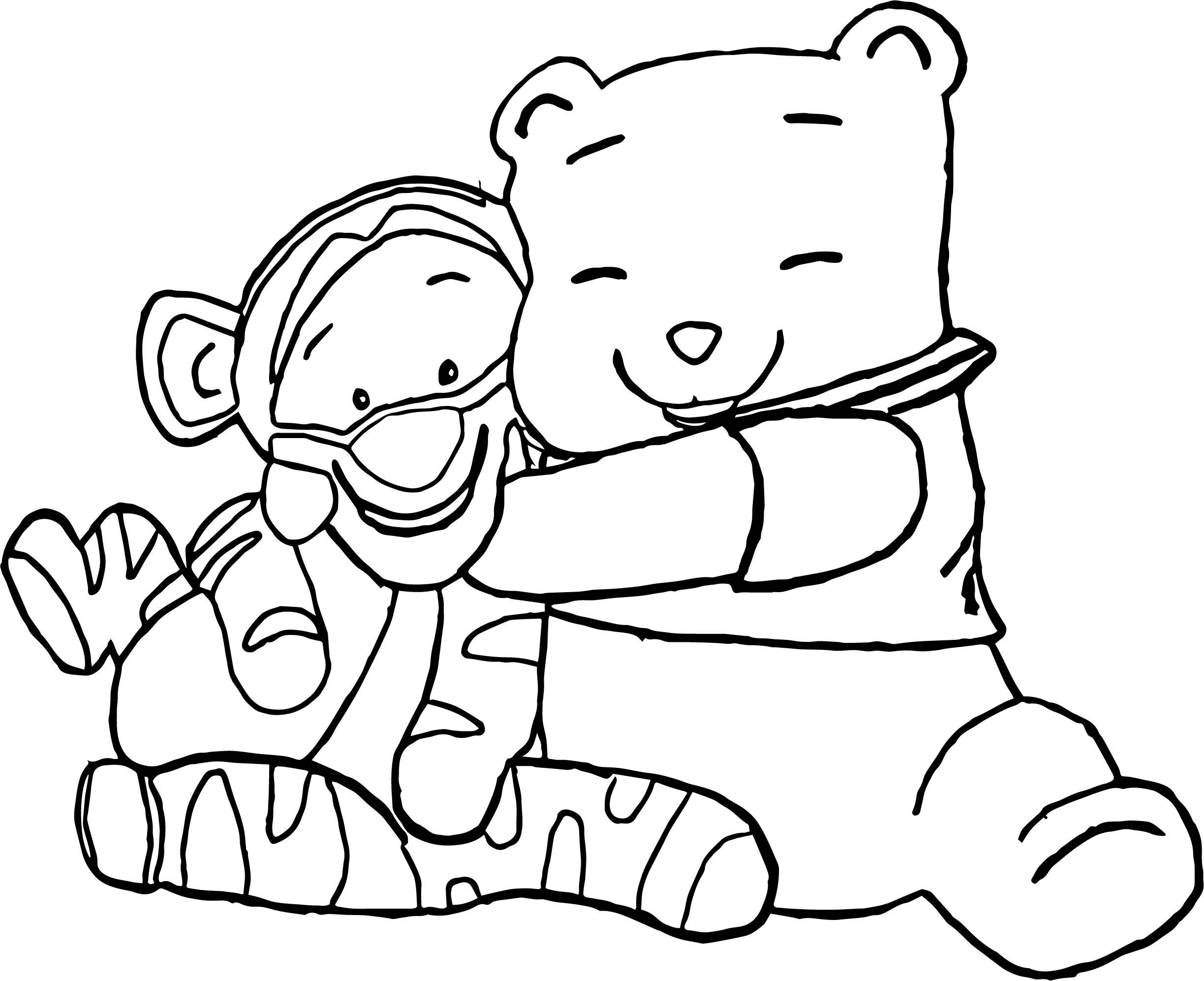 Baby Tigger Winnie The Pooh Hug Coloring Page