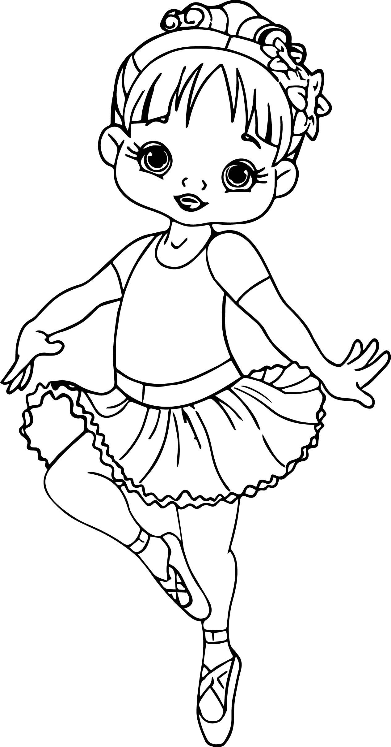 Ballerina Cartoon Girl Coloring Page
