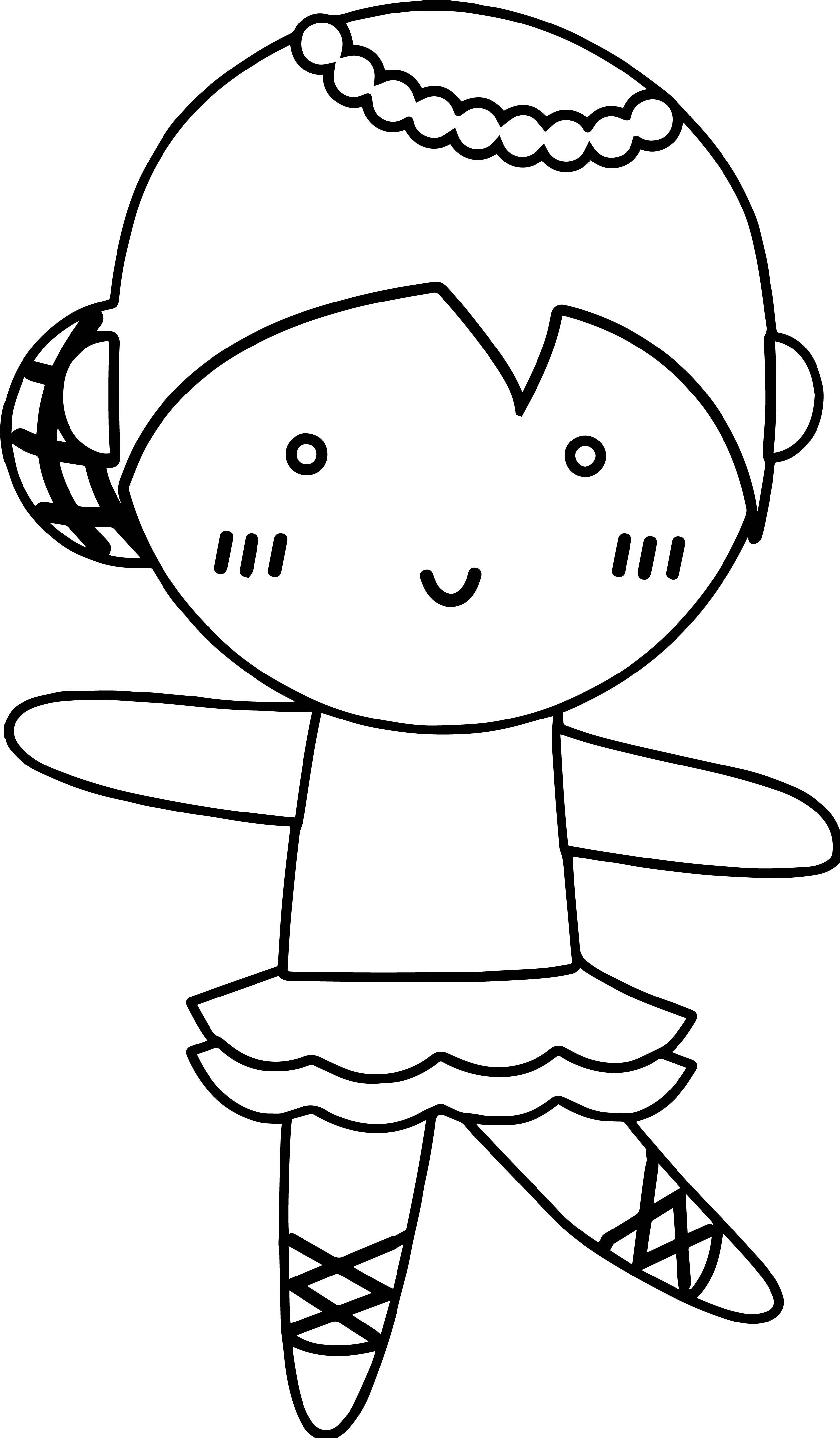 Ballerina Chibi Girl Coloring Page