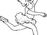 Ballerina Girl Walking Coloring Page