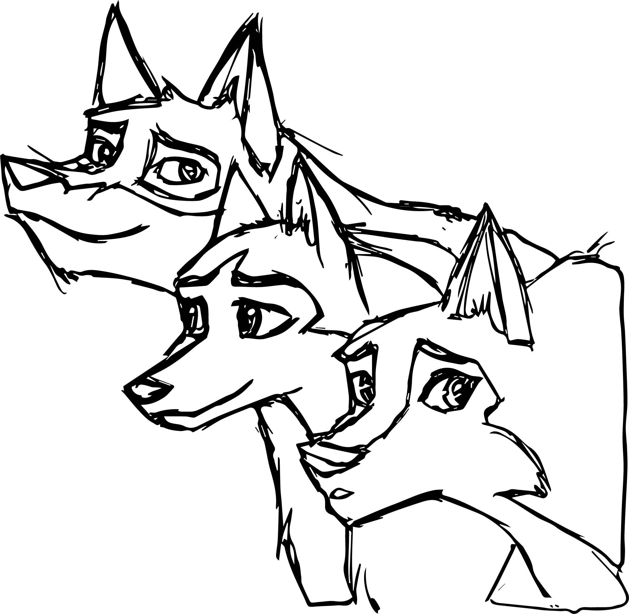 Balto Jenna Aleu Wolf Three Dog Sketch Coloring Page