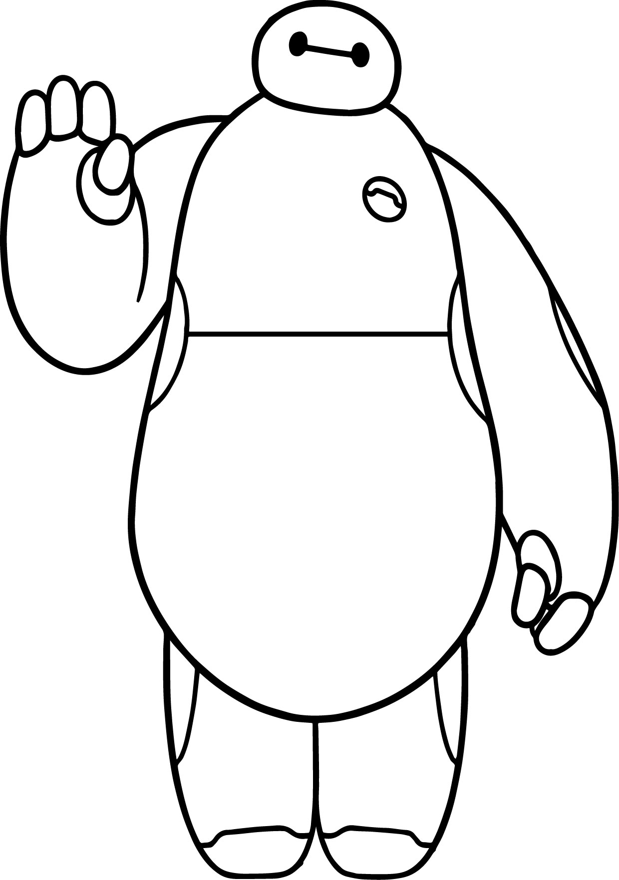 Big Hero 6 Characters Baymax Hello Coloring Page