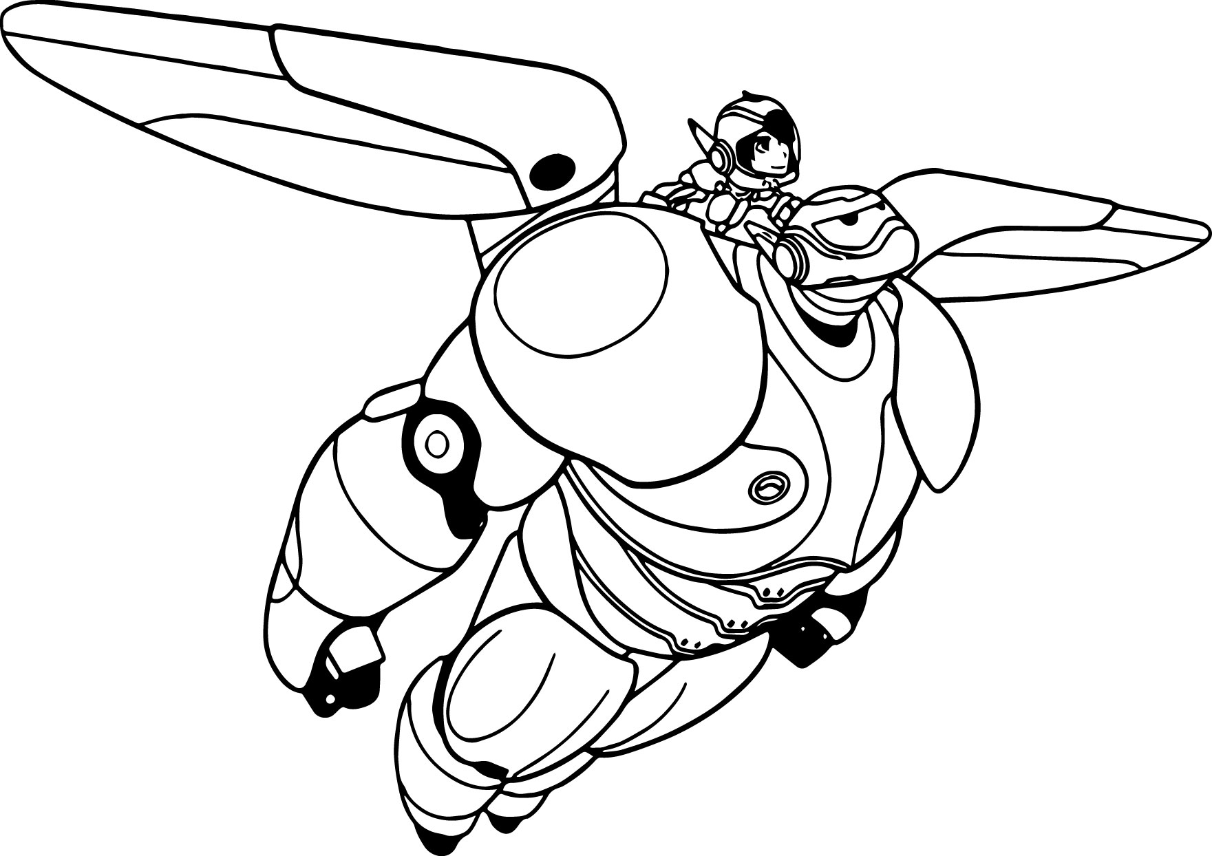 Big Hero 6 Characters Baymax Hiro Coloring Page