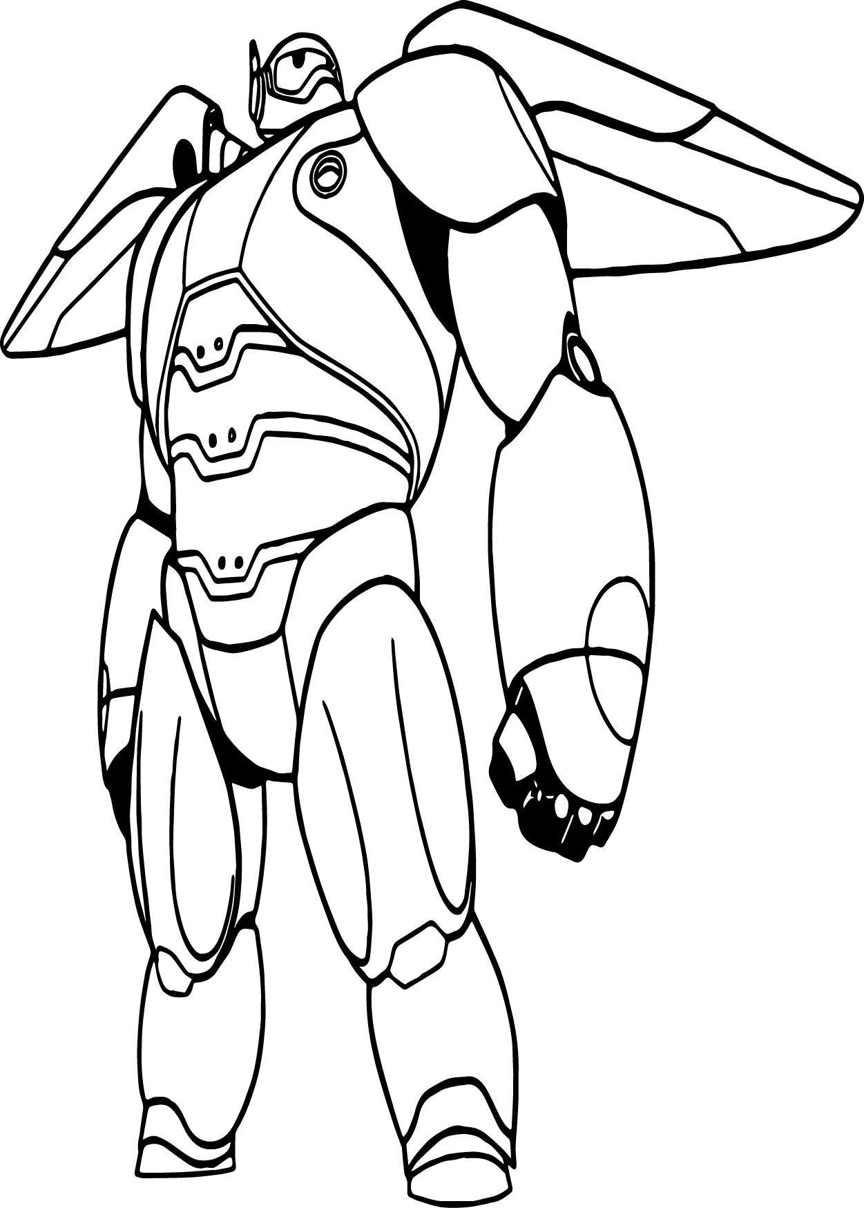 Big Hero 6 Characters Baymax Mech Robot Coloring Page