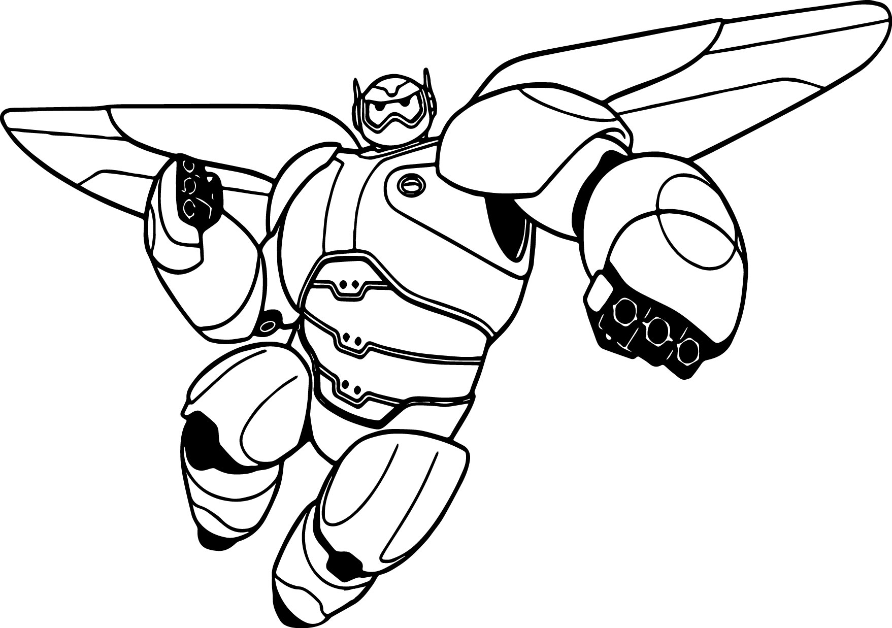 Big Hero 6 Characters Baymax Mechanic Coloring Page