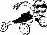 Big Hero 6 Characters Gogo Tomago Running Coloring Page