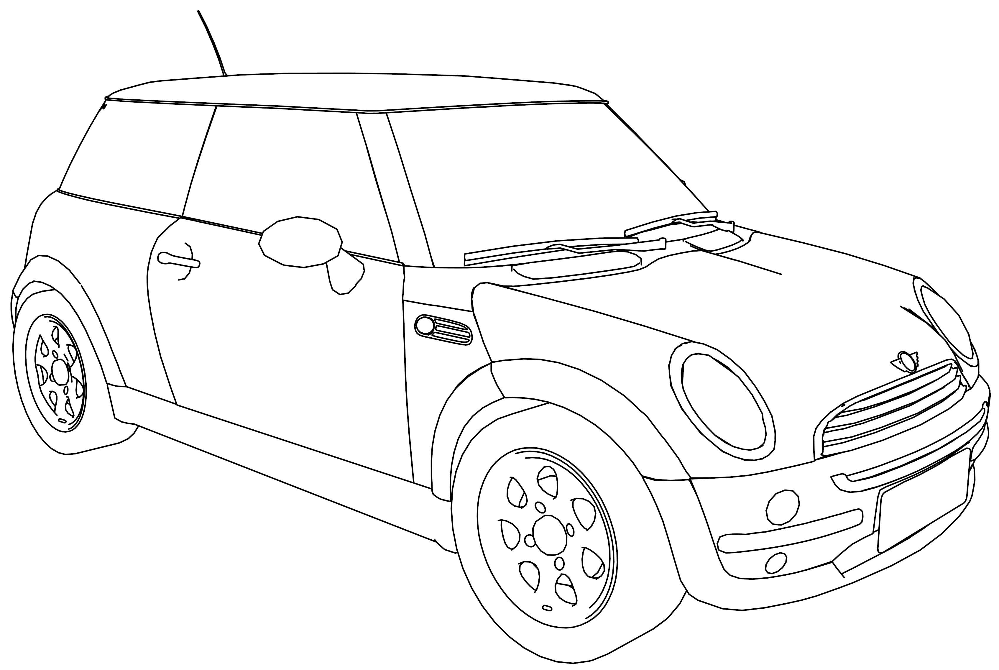 bmw m5 mini b class car coloring page