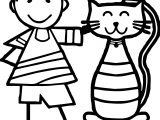 Boy And Cat Coloring Page