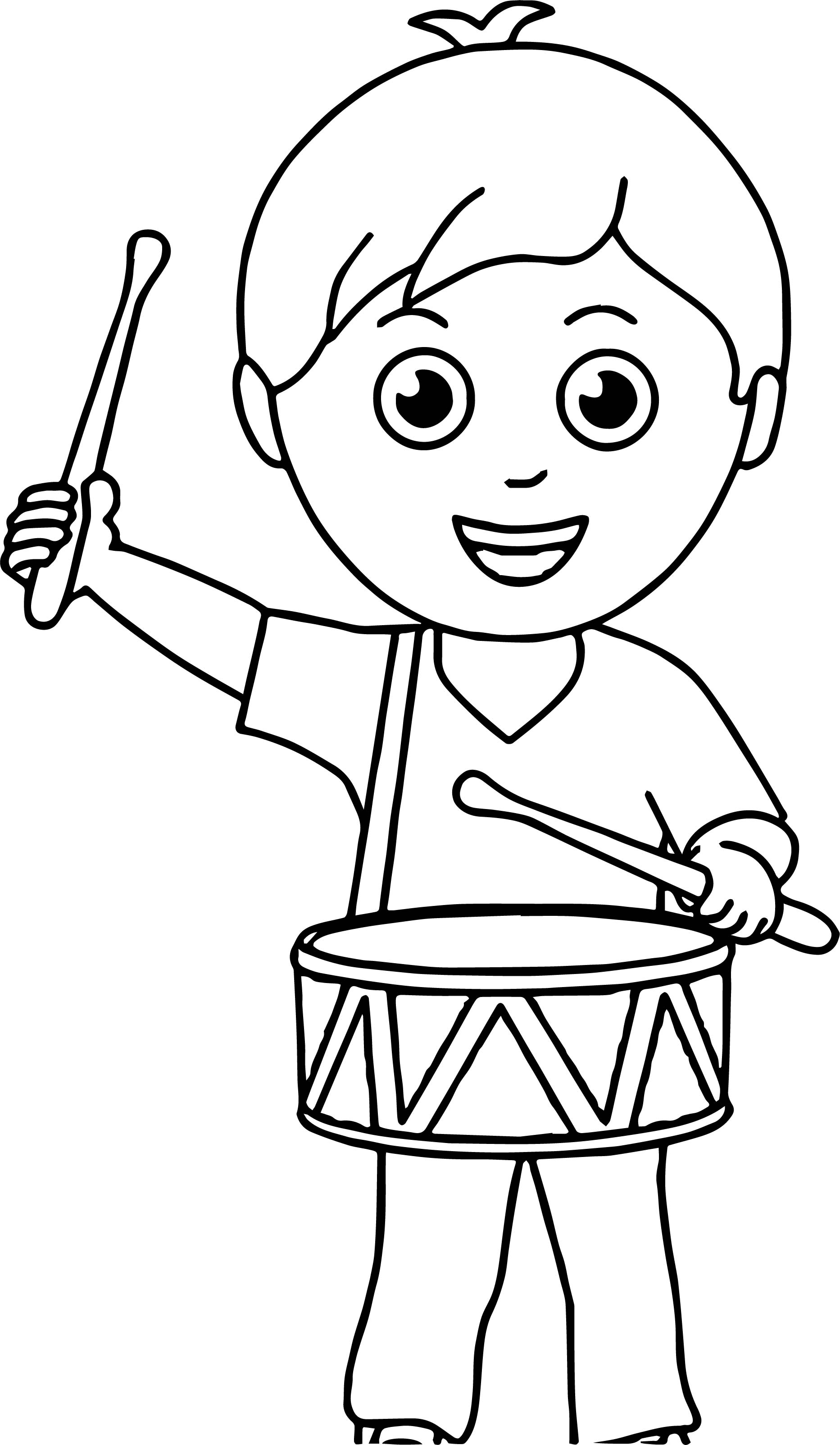 Boy Band Drum Coloring Page | Wecoloringpage.com
