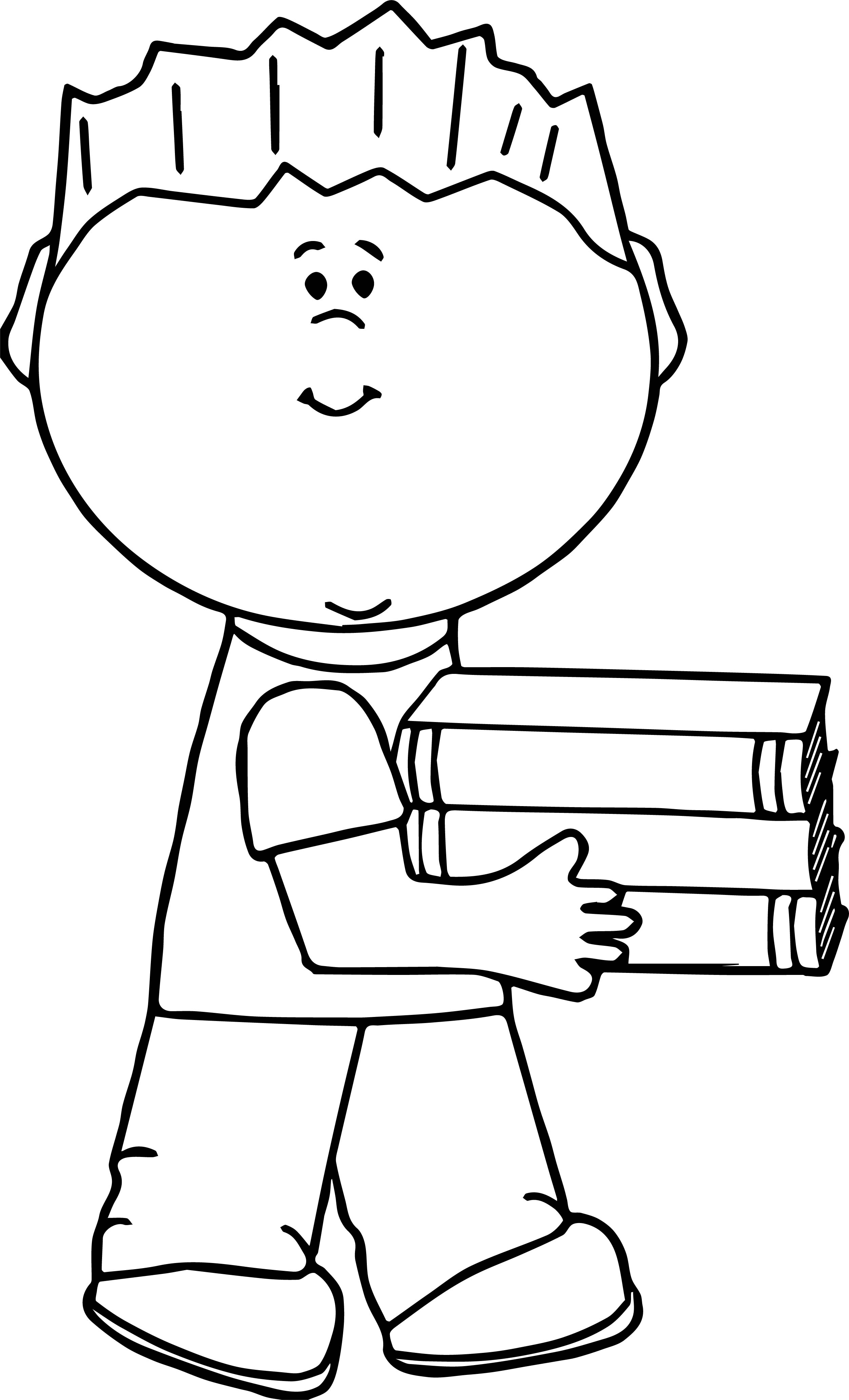 Boy Carrying Book Coloring Page