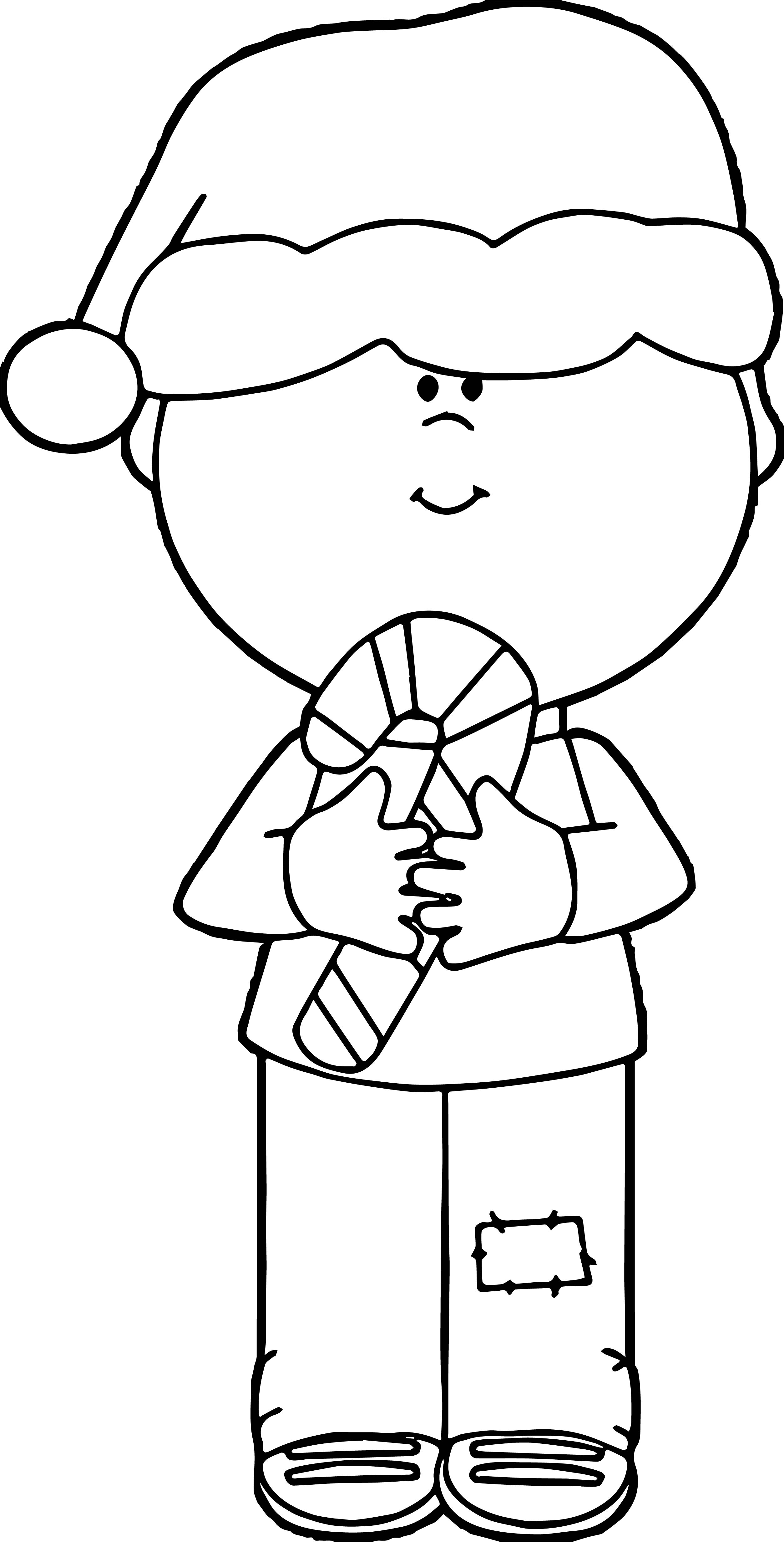 Boy Chrismas Candy Coloring Page