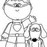 Boy Dog Hello Coloring Page