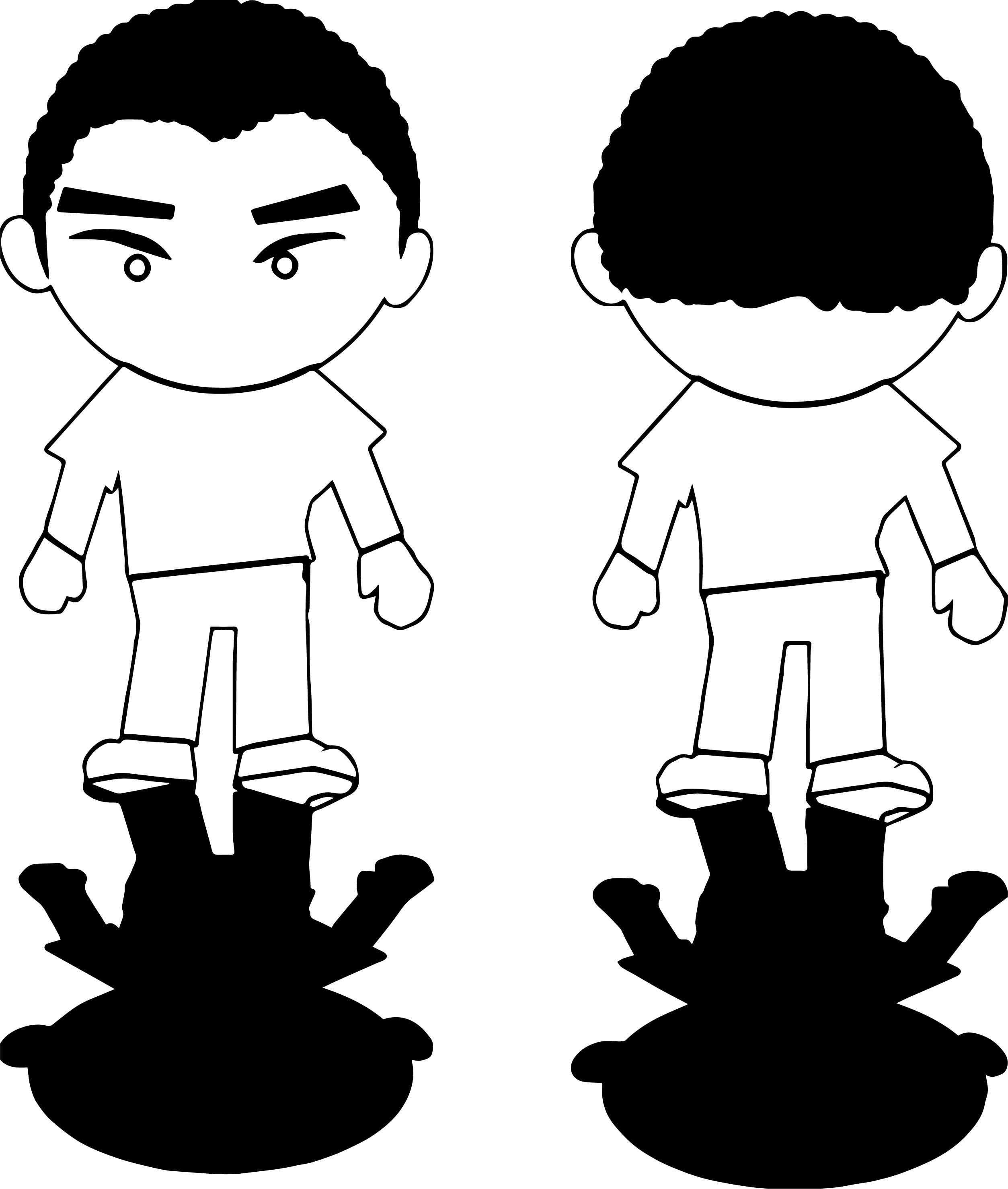 Boy Front Back View Shadow Coloring Page