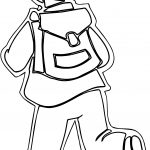 Boy Running School Outline Coloring Page