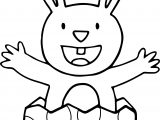 Bunny Easter Egg Broken Coloring Page