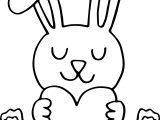 Bunny Holding Heart Coloring Page