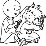 Caillou And Sister Brush Hair Coloring Page